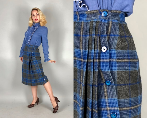 Vintage 1940s Skirt | 40s Kilt Inspired Blue & Grey Gray Wool Flannel Plaid Tartan Button Up Pencil Skirt w/Pleating | Small Extra Small XS