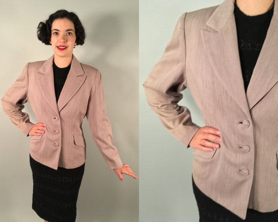 1940s Variegated Heathered Blazer | Vintage 40s Light Brown Wool Peak Lapel Jacket by 'Marcé' with Real Pockets! | Medium / Large