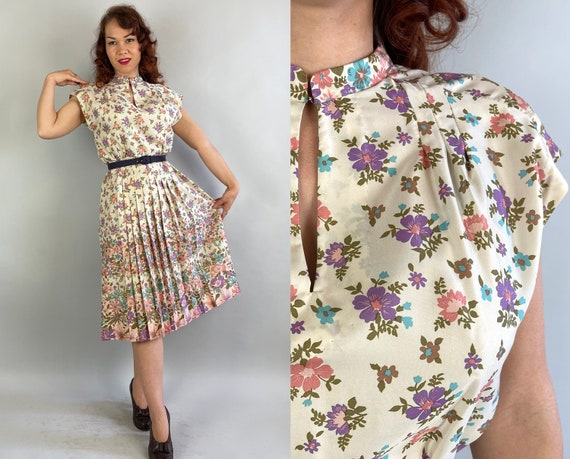 1940s Spring Has Sprung Frock | Vintage 40s White Purple Blue Pink Olive Floral Silk Knife Pleated Dress with Keyhole Neck | Medium Large
