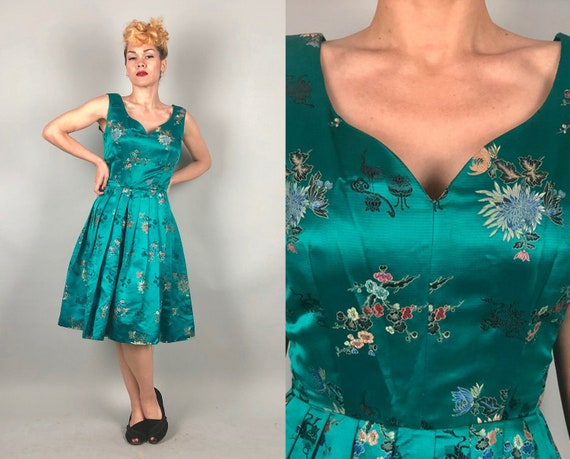 1950s East Meets West Frock | Vintage 50s Asian Silk Teal Green Party Cocktail Dress w/Low Scoop Back Pleated Skirt | Small Medium