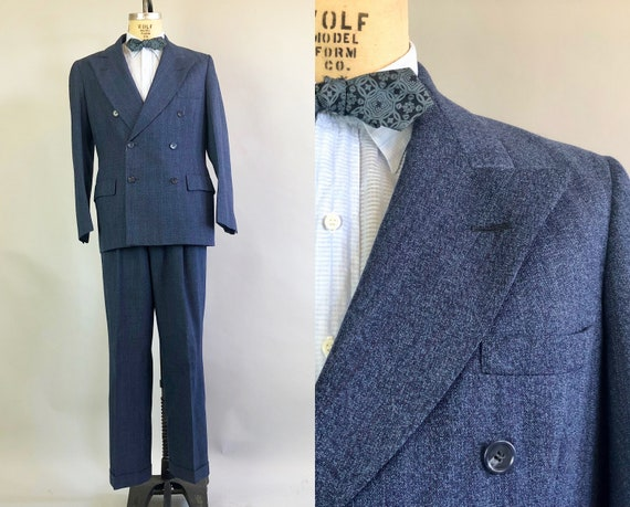 Early 1950s Granite Mens Suit | Vintage 50s Blue Wool Suit w/Maroon Red & Double Cream Stripes and Peak Lapels Dated 1951! | Size 40/42