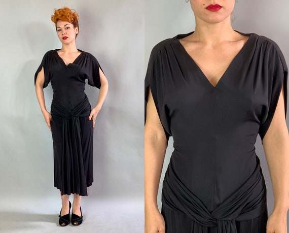 1950s Noir Cocktail Dress | Vintage 50s Jet Black Rayon Evening Party LBD Frock with Grecian Sleeves, Plunging V-Neck and Hip Sash | Small