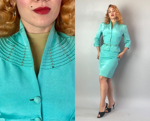 Vintage 1950s Womens Suit | Early 50s Robins Egg Blue Silk Faille Jacket Skirt & Belt w/Rhinestone Embellishment New Look | Extra Small XS