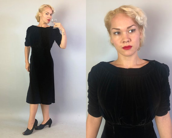Vintage 1930s Dress | 30s Rich Obsidian Black Soft Silk Velvet Evening Dress with Gathered Bust A-Line Skirt and Ruched Sleeves LBD | Small