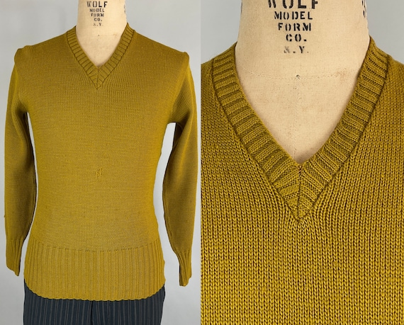 1940s Vic's Varsity Sweater | Vintage 40s Goldenrod Wool Knit Pullover Jumper with Wide Ribbed Waist and Ribbed V Neck | Medium