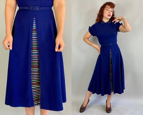 1940s Taste the Rainbow Frock | Vintage 40s Midnight Blue Rayon Crepe Dress w/Multicolor + Black Stripe Under Skirt & Matching Belt | Small