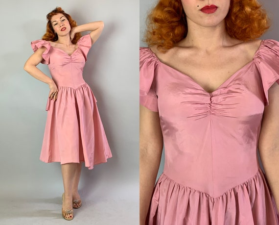 1950s Pretty in Pink Party Dress | Vintage 50s Rose Petal Pink Rayon Taffeta Garden Day Frock with Sweetheart Neckline & Full Skirt | Large