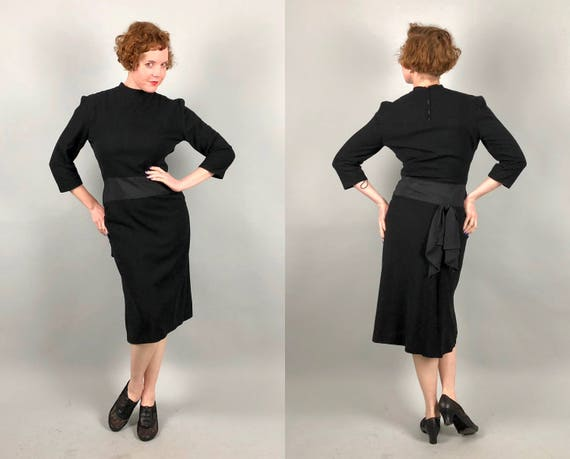 Vintage 1940s Dress | 40s 'Junior Guild' Black Wool Crepe Sheath Cocktail Dress LBD with Black Rayon Faille Waistband and Back Bow | Medium