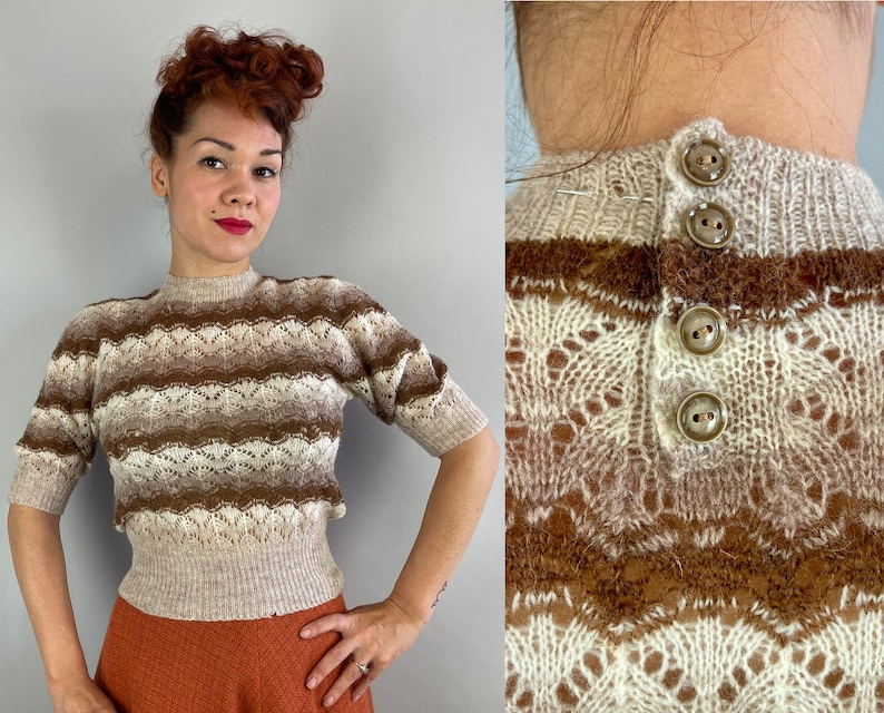 1930s Divine Deadstock Sweater  Vintage 30s White and Brown image 0