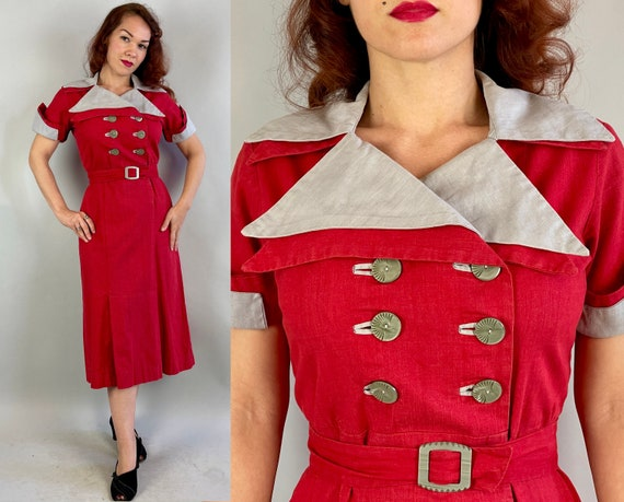 1930s Sensational Scarlet Dress   Vintage 30s Red and Grey Big Collar Two Tone Double Deco Button Color Block Frock with Belt   Medium Large