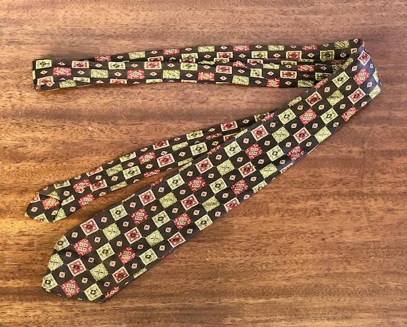 1940s Mens Medallion Weave Tie | Vintage 40s Bronze Brown Red Gold Green and Black Square Diamond Art Deco Mid Century Silk Brocade Necktie