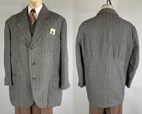 1930s Belted Back Jacket | Vintage 30s Grey Wool with Rust Orange Pinstripes Patch Pockets Statement Piece Blazer | Size 50/52 Extra Large
