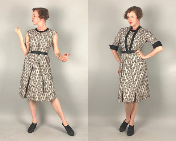 1950s Monochromatic Dress Set | Vintage 50s Two Tone Black & White Floral Brocade Dress with Pockets Matching Jacket and Belt 3-Piece| Small