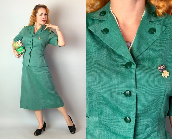 1940s Girl Scouts Uniform | Vintage 40s Green and White Cotton Whipcord Scout Leader Ladies Suit Official Jacket & Skirt Suit Set | Large