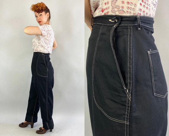 """1950s Rockin' Rhonda Dungarees   Vintage 50s Black Denim Side Zip Jeans with White Top Stitching by """"Blue Bell"""" Volup   Extra Large XL"""