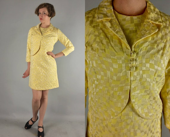 1950s Rayon Jacquard Dress Set | Vintage Incredible 50s Buttercup Yellow Shift Frock & Matching Three-Button Bolero Jacket | Small