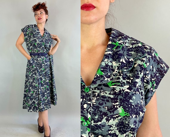 1940s Picturesque Park Novelty Dress | Vintage 40s Blue Grey and Green Cotton Shirtwaist Frock with Pockets and Scallops | Extra Large XL