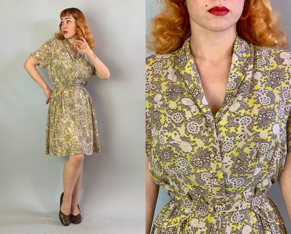 1940s Floral Franny Frock | Vintage 40s Chartreuse Black White Beige Flower Print Semi Sheer Rayon Dress w/Matching Belt | Extra Large XL