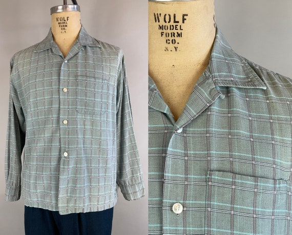 1950s Robin's Merry Mint Shirt | Vintage 50s Robins Egg Blue White Grey Plaid Summer Weight Wool Button Up Square Hem w/Patch Pocket | Large