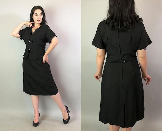 Vintage 1960s Dress   60s Textured Black Illusion LBD w/ Rhinestone Buckles&Bows Midcentury Peplum Little Black Dress Volup   Extra Large XL