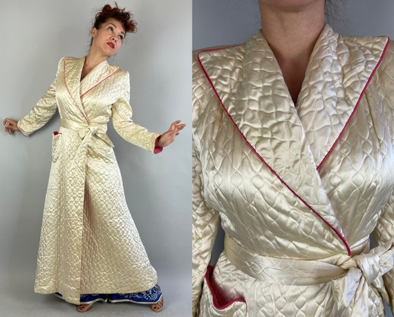 1940s Royally Robed Dressing Gown | Vintage 40s Cream White and Hot Pink Satin Rayon Quilted Lounging Robe with Peak Lapels | Small Medium