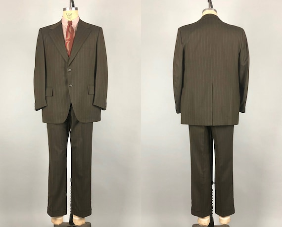 Vintage 1950s 1960s Suit | 50s 60s Chocolate Brown w/Bronze Vertical Stripes Blazer Jacket and Trousers Pants | Size 42 Large Extra Large XL