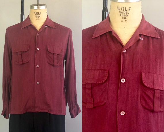 1950s Heather Burgundy Mens Shirt | Vintage 50s 'Penney's Towncraft' Red Rayon Gabardine Mens Button Up Shirt w/Box Pleated Pockets | Medium