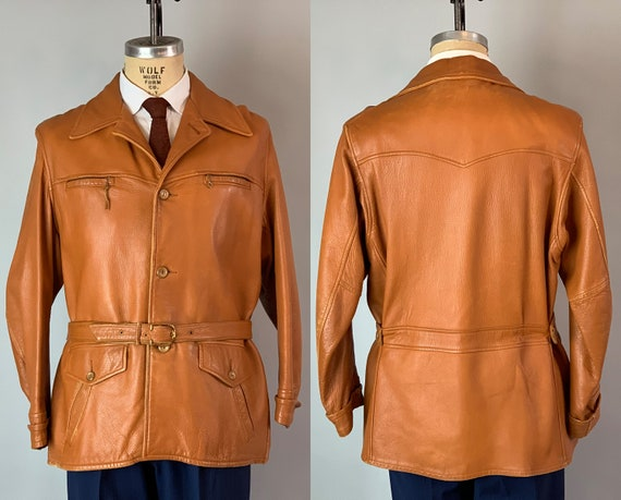 1930s Belted Back Deerskin Jacket | Vintage 30s Mens Burnt Orange Leather Coat w/ Vegetable Buttons, Cinch Belt, and Pockets! | Medium/Large