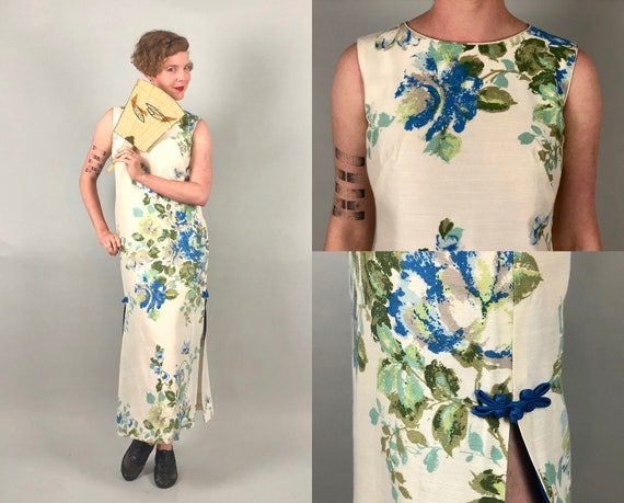 Vintage 1960s Dress | 60s White Silk Blend Maxi Tiki Hawaiian Shift Dress with Blue Green Grey gray Floral Print Made in Honolulu | Small