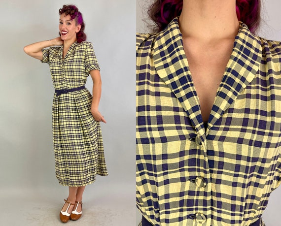 1940s Picnic Plaid Dress   40s Vintage Springtime Yellow and Purple Textured Rayon Shirtwaist Frock with Self Covered Buttons   Medium