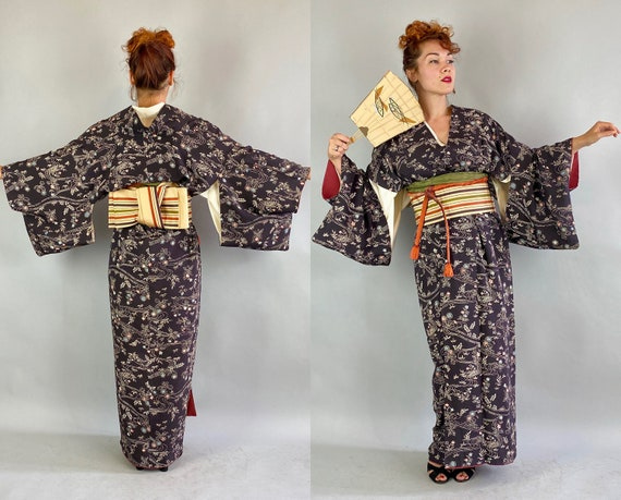 1950s Kimono Kitsuke | Vintage 50s Five Piece Traditional Japanese Silk Set with Obi Belt Nagajuban Obiage Obijime and Floral Kimono Gown