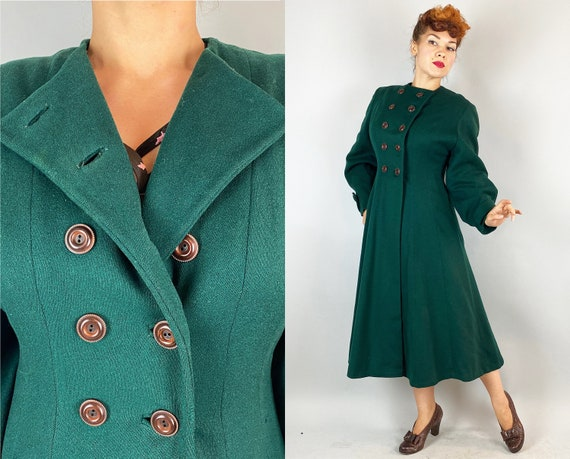 1940s Envy Worthy Princess Coat  | Vintage 40s Forest Green Wool Full Skirted Long Jacket w/ Double Breasted Burnt Caramel Buttons | Medium