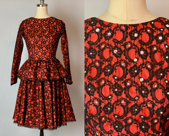 1950s Red Hot Sweetie Dress | Vintage 50s Tomato Red and Black Lace Overlay Cocktail Dress w/Rhinestones & Full Peplum | Extra Small XS