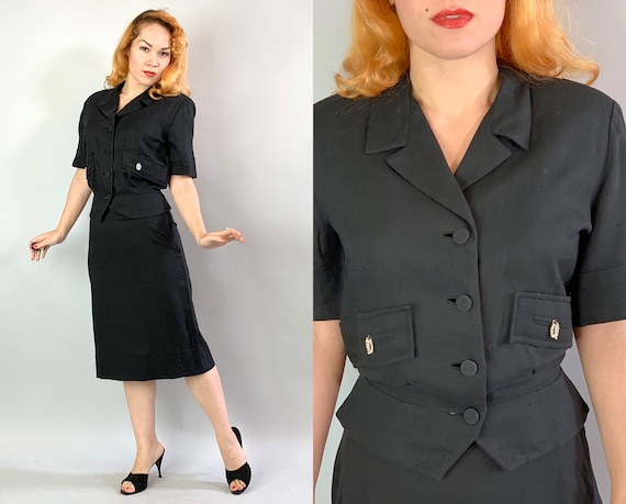 """1950s Linen Skirt Suit 