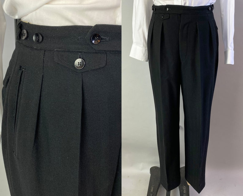 1930s Dazzling Don Trousers  Vintage 30s Black Wool Pleated image 0