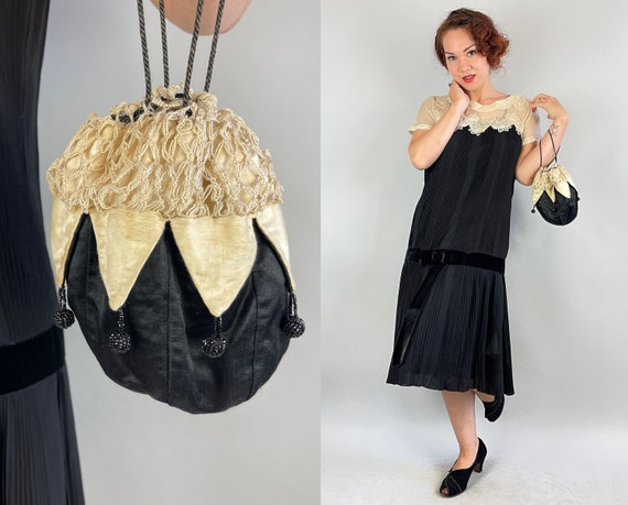 1920s Monochromatic Reticule | Vintage 20s Black and White Ivory Silk Drawstring Pouch Purse Handbag with Crochet and Beaded Baubles