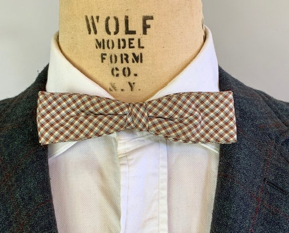 """1950s Plaid Silk Bowtie 