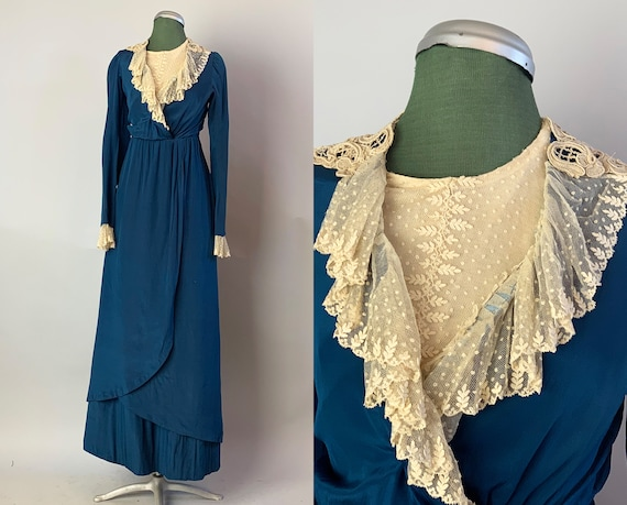 Edwardian Blue Heaven Dress | 1910s Teens Vintage Antique Silk Gown with Ecru Floral Lace Bodice and Ruffled Trim | Extra Small XS