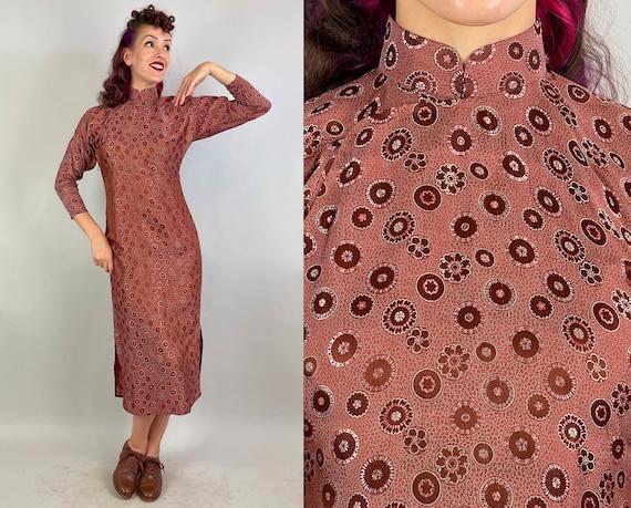 1940s Cinnamon Sienna Cheongsam | Vintage 40s Reddish Brown Silk Brocade Traditional Qipao Chinese Dress with Mandala Pattern | Small Medium