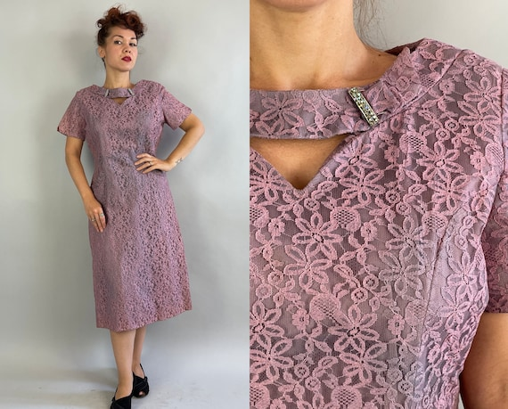 1940s Tootsie's Tone on Tone Dress   Vintage 40s Lilac and Lavender Lace Frock with Keyholes Pockets and Rhinestones   Large Extra Large XL