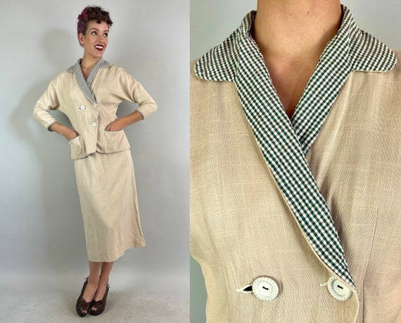 1940s Set to Jet Suit | Vintage 40s Ivory White Linen Two Piece Double Breasted Jacket and Skirt with Plaid Seersucker Accents | Small