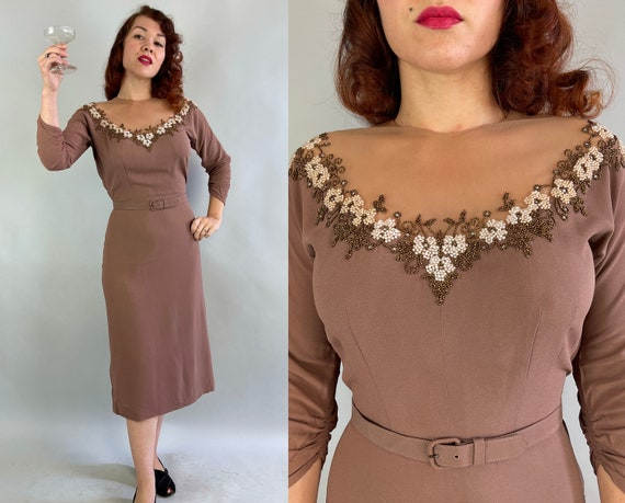 1940s Cocktail Chantuese Dress | Vintage 40s Taupe Brown Rayon Crepe Evening Frock with Illusion Net Neckline and Heavy Beading | Small