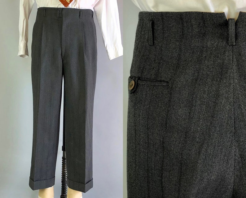 8bf9b2fc 1940s Mens Hollywood Waist Pants | Vintage 40s Deep Slate Blue Grey Wool  Striped Trousers Slacks with Pleated Front | 36x26.5 Large