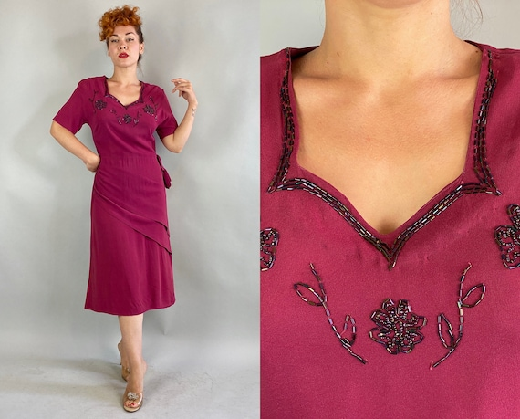 1940s Starlet Soiree Dress | Vintage 40s Magenta Rayon Crepe Evening Cocktail Frock w/Beaded Floral Neckline and Double Half Peplum | Medium
