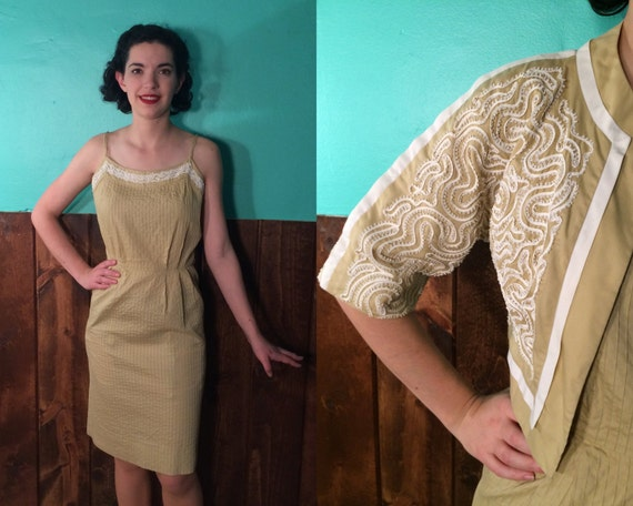 1950s Lovely White Soutache Dress Set | Vintage 50s 'Carlye' Light Mustard Yellow Cotton Sundress and Bolero Jacket Day Dress Set | Small