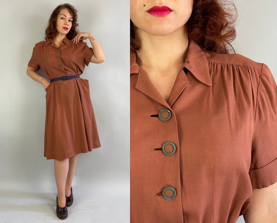 1940s Cinnamon Sweetie Shirtwaist Dress   Vintage 40s Brown Wool Gabardine Frock with Green Buttons and Scoop Pockets   Extra Large XL