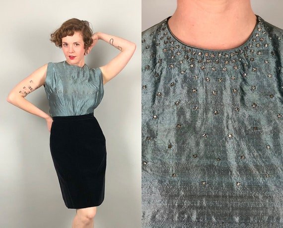 1950s Icy Steel Blue Blouse | Vintage 50s Raw Silk Sleeveless Evening Cocktail Top w/Rhinestones & Button Back Volup | Large Extra Large XL