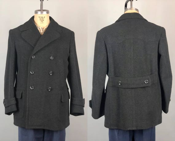1930s Mens Belted Back Mackinaw | Vintage 30s Charcoal Black Grey Gray Wool Peacoat w/Green Flannel Lining Overcoat Jacket | Medium/Large