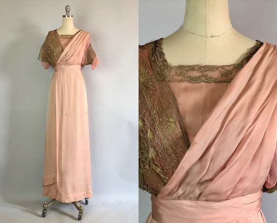 Vintage 1910s Dress | Teens Edwardian Dusty Rose Silk Chiffon Art Nouveau Garden Party Tea Dress w/ Golden Sari Mesh Lace  | Extra Small XS
