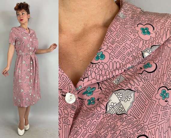 1940s April Showers and May Flowers Dress | Vintage 40s Pink White Black & Green Weather Patterns Cotton Frock w/Belt | Large Extra Large XL